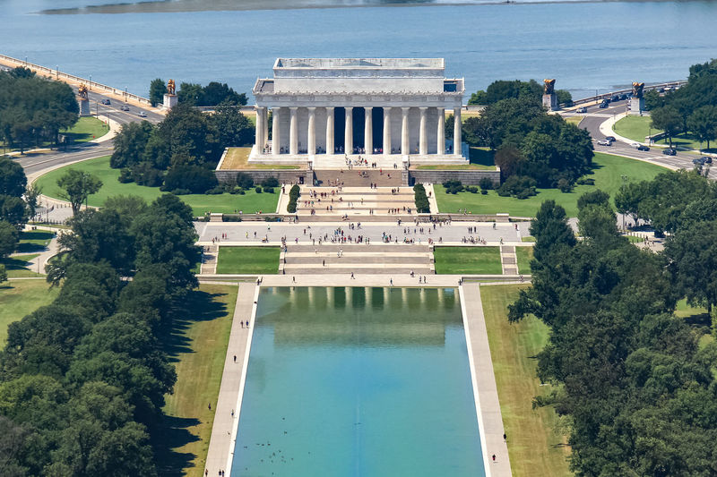 High angle view of the lincoln memorial in washington, d.c., usa.