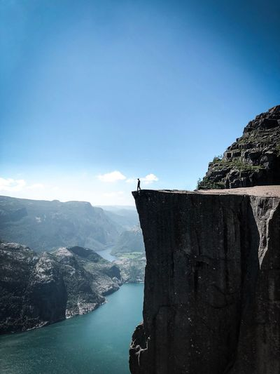 Hiking Norway Gopro Preikestolen Water Sky Nature Day Architecture Copy Space No People Scenics - Nature Built Structure Tranquility Beauty In Nature Sunlight Clear Sky Outdoors Building Exterior River Blue The Traveler - 2018 EyeEm Awards The Traveler - 2018 EyeEm Awards