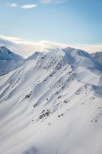 Winter Snow Cold Temperature Scenics - Nature Mountain Beauty In Nature Tranquil Scene Tranquility White Color Sky Non-urban Scene Environment Snowcapped Mountain Landscape No People Day Nature Cloud - Sky Covering Mountain Peak