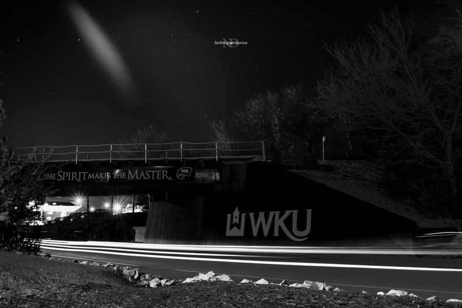 Welcome To Black WKU NCAA College College Life Long Exposure Longexposure Blackandwhite Black And White Black & White Black&white Black And White Collection  Eye4photography  Night Sky Bridge - Man Made Structure Star - Space Outdoors EyeEm Best Shots Collegetown Kentucky  Westernkentucky Architecture Traffic Traffic Light