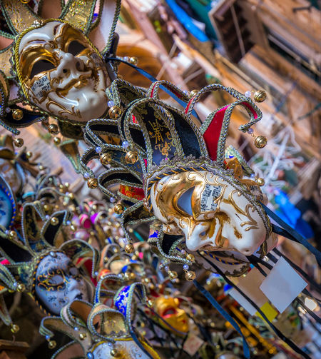 Close-up Day Focus On Foreground For Sale Hanging Large Group Of Objects Multi Colored No People Outdoors Retail  Venetian Mask