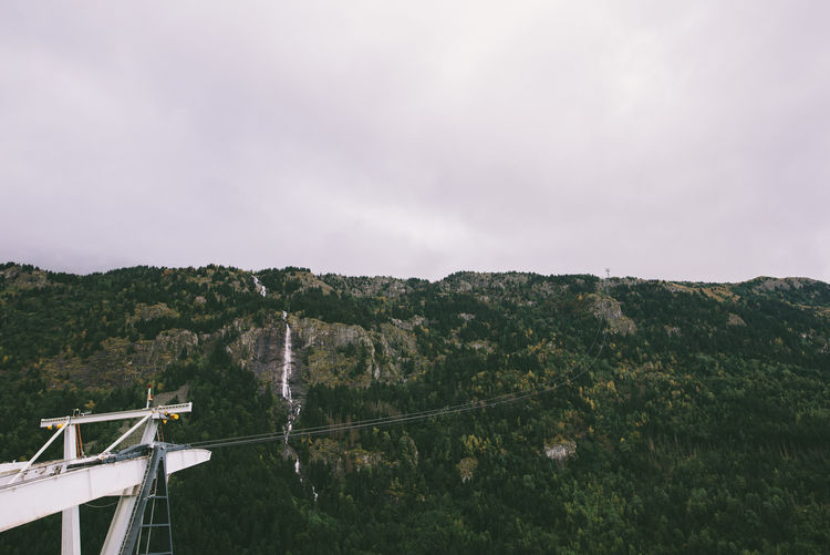 Cable Car Cloudy Day Cloudy Sky Day Mountain Nature Outdoors Sky Waterfall