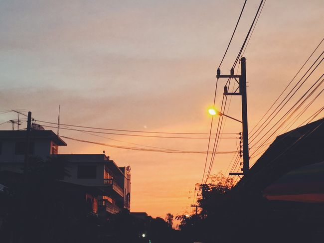 Sunset Cable Connection Silhouette Sky Power Line  Power Supply No People Electricity  Built Structure Electricity Pylon Technology Cloud - Sky Fuel And Power Generation Telephone Line Low Angle View Outdoors Architecture Nature Building Exterior