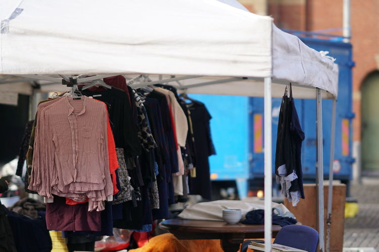 Clothes hanging at market