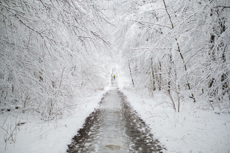 Road amidst snow covered land