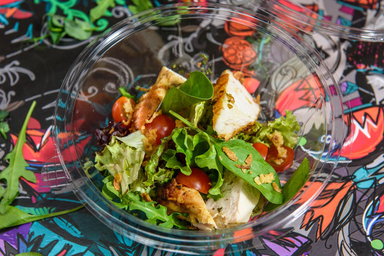 Chicken salad with lettuce and tomato at plastic dish. Ready for take away. Takeaway Food Chicken Salad Eyeem Food  Food Food And Drink Freshness Healthy Eating Indoors  No People Plastic Box Plastic Dish Salad Take Away Food Tomato