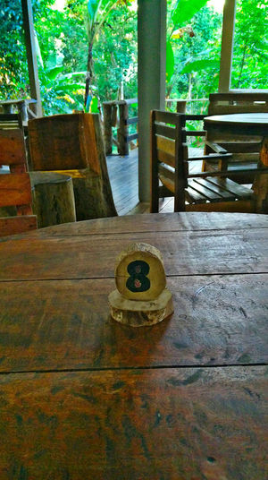 EyeEmNewHere Rural Lifestyle Summer In The City Bench Chair Close-up Escape From The City Geometric Shape Indoors  Janda Baik Rural Life Seat Still Life Table Table Number Village Life Weekend Getaway Wood Wood - Material Wood Cabin Wood Structure Wooden Furniture Wooden Tabletop