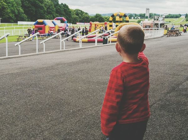 Boy Child Kid Childhood Memories Bouncy Castle Fun Day Inflatables Fair Railing Outdoors Tee Stripes Blonde From Behind Steps Hamilton Park Racecourse