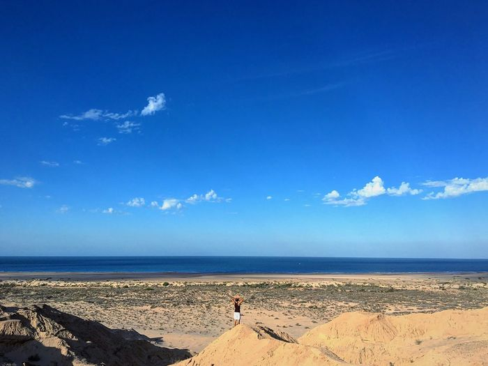 Enjoy The New Normal Freedom Sea Beach Blue Sky Horizon Over Water Sand Water Cloud - Sky Tranquility Nature Real People Beauty In Nature Outdoors One Person Day People