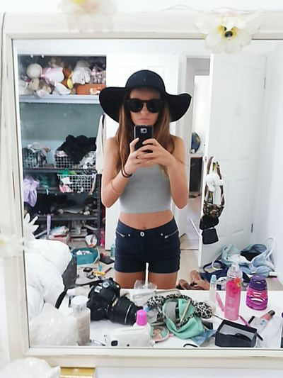 Teenager girl pretty makeup hair fashion hats accessories sun glasses artistic Taking Photos Check This Out Young Wild And Free(;