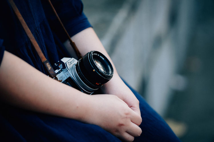 Old camera Real People Focus On Foreground Holding One Person Hand Midsection Human Hand Human Body Part Photographic Equipment Men Camera - Photographic Equipment Day Photography Themes Lifestyles Technology Camera Digital Camera Close-up Body Part Photographer Oldfashion Travel Destinations