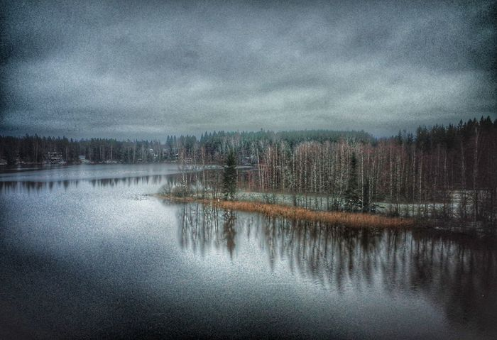 Reflection Sky Nature Beauty In Nature Scenics Water No People Outdoors Water Fine Art Photography Nature Landscape Finland Suomi November Marraskuu Forest Metsä Tranquility Rural Scene