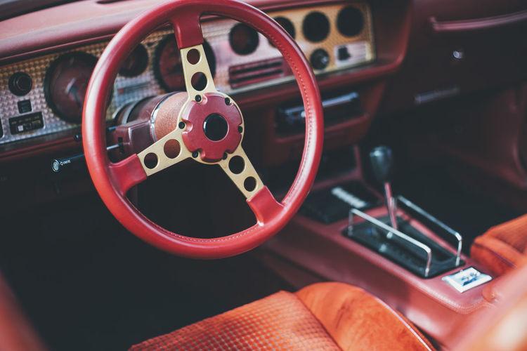 Close-up of steering wheel in vintage car
