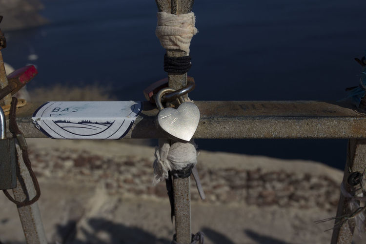 High angle view of rope tied to bollard