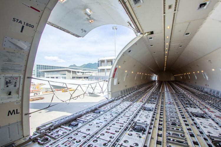 Interior of cargo airplane