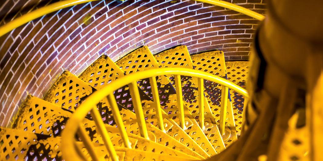 High angle view of yellow wheel
