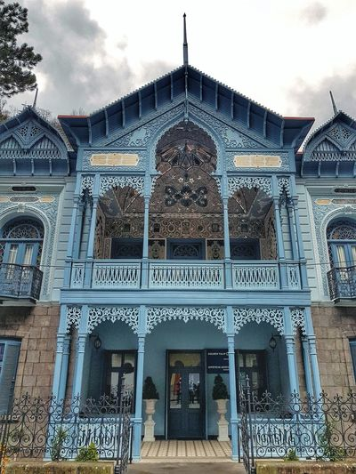 Former house of the ambassador of Persia in XIX century Georgia Blue Streetphotography Architecture Photography Street Photography Architecture And Art Architecture Text Sky Architecture Building Exterior Built Structure Historic Façade Entrance Entryway Front Door Arch History Archway Arched
