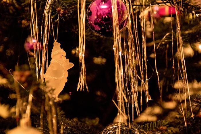 Bauble Celebration Christmas Christmas Decoration Christmas Lights Christmas Ornament Christmas Tree Close-up Hanging Holiday - Event Illuminated Indoors  Night No People