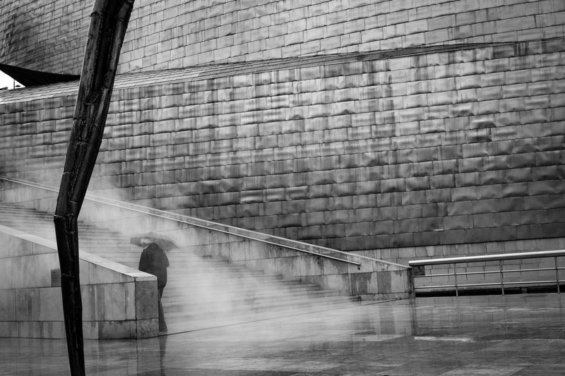 steel life • Steel Steel Structure  Architecture Steps And Staircases Steps Built Structure Staircase Urban Geometry Urban Architecture Urban Urban Art Contemporary Art Modern Art Modern Gallery Guggenheim Bilbao One Man Only From Behind Smoke Fog Foggy Rain Rainy Umbrella The Week On EyeEm The Graphic City The Street Photographer - 2018 EyeEm Awards