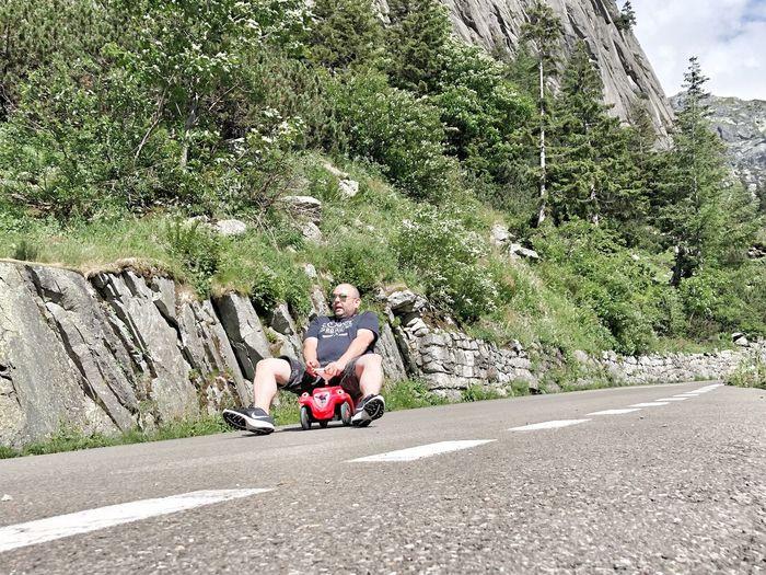 Grimsel-Race 🏁🏎 Blödsinnimkopf Race Switzerland Grimselpass Bobbycar Transportation Sitting Real People Plant Leisure Activity Lifestyles Road Nature Day Men Land Vehicle