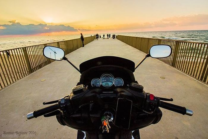 Motorcycle Tmax Israel Travel Traveling Chilinisrael Insta_Israel Sky Sea Bridge Beachphotography Beautiful Beachlife Beach Phographer Canon Sunset Beutiful  Beaxhlife Taking Photos Colorful GoodTimes Canon_official Beauty Water