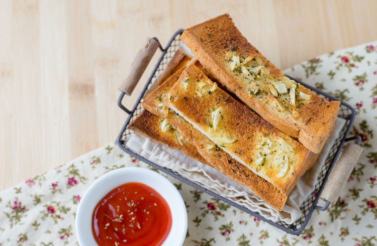 Bread Bread Sticks  Close-up Day Food Food And Drink Freshness Garlic Bread Healthy Eating High Angle View Indoors  Ketchup No People Plate Ready-to-eat SLICE Sweet Food Table Toasted Bread