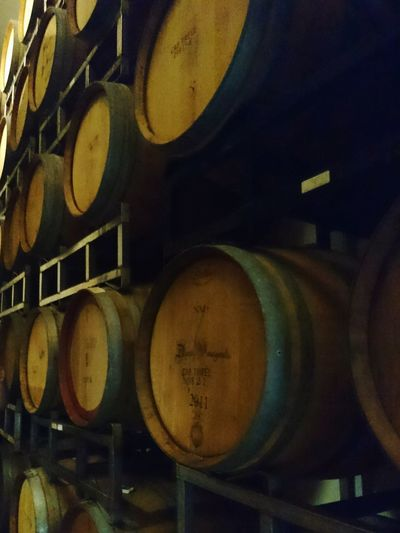 Bourbon Barrels Bourbon Barrel Beer Beer Barrels A Day Bourbon Beer Beer Aging Barrels Alcohol No People Indoors  In A Row Shelf Barrel