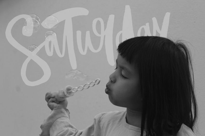 Childhood People Close-up Girls Day Headshot Side View Text Saturday One Person Child Domestic Life Monochrome
