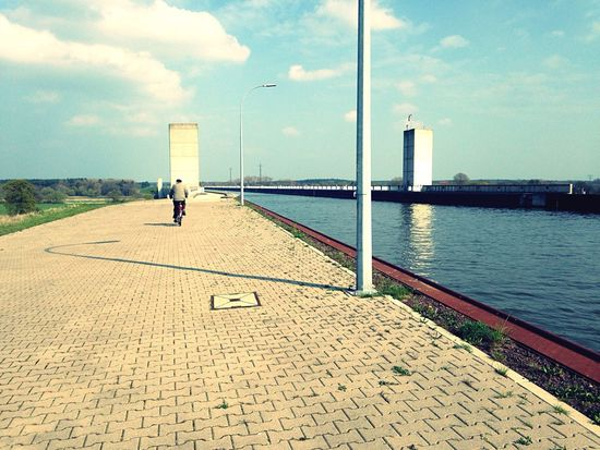 Feel The Journey Channel Bridge on the Elbe River 🇩🇪 a quite Place for Cycling and Walking 🍀 Sofiavicchi Sofiavicchiconceptdesign River Elbe Countryside DDR Bycicle Lonely Water Simmetry Waterfront Engineering Traveling