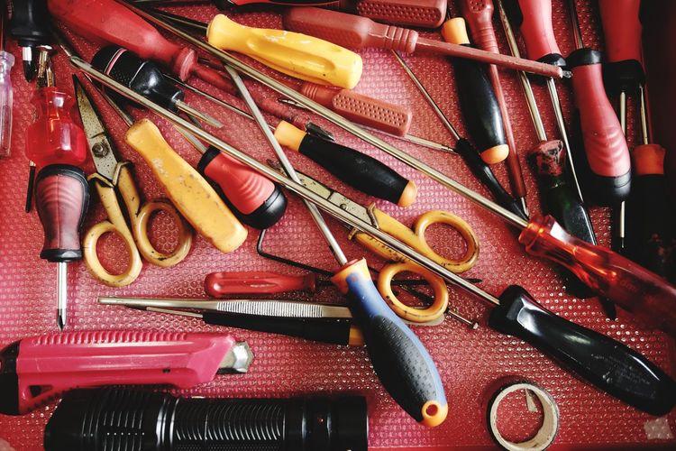 Full frame shot of various work tools