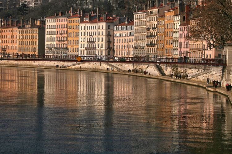 Architecture Building Exterior Built Structure City Color Day French City Lyon No People Outdoors Reflection River Sky Warm Colors Water