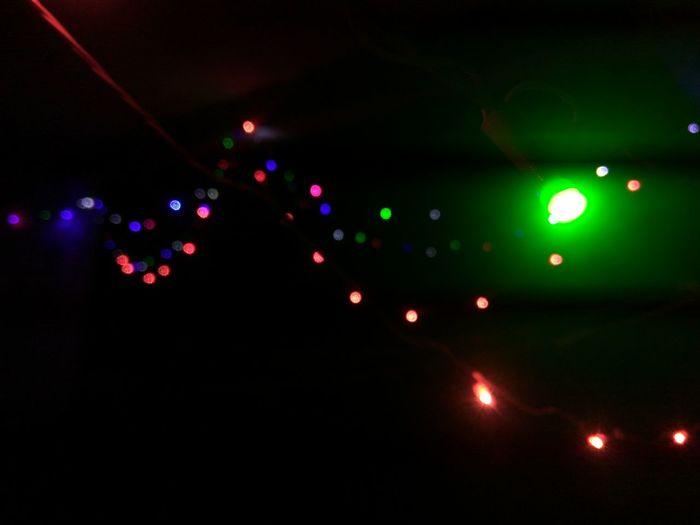 Illuminated Defocused Celebration Disco Lights Close-up