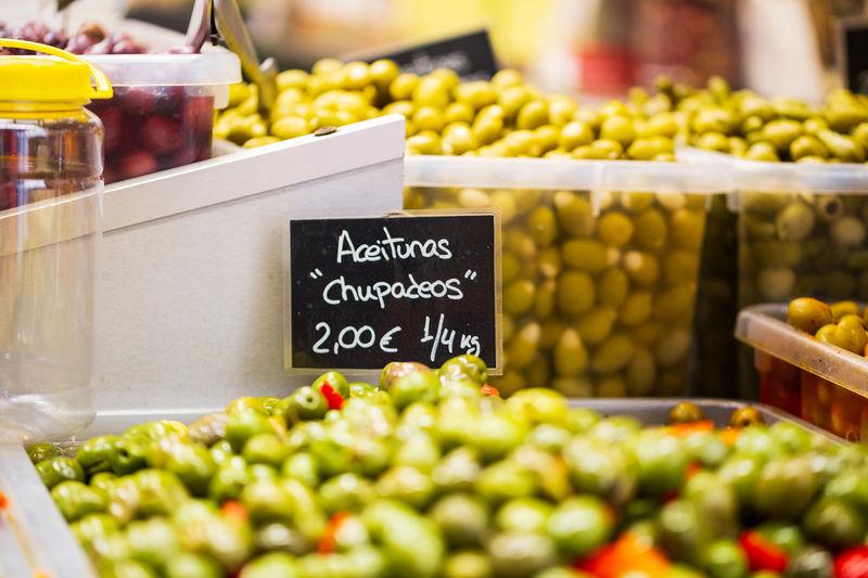 Olives for sale at market stall