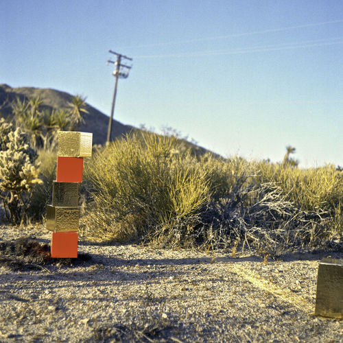 Abstract Analog Art Blue Cubes Desert Design Field Film Photography Geometric Shapes Gold Grass Installation Art Joshua Tree Landscape Minimalism Nature Orange Color Photography Plant Road Road Sign Scenics Tranquil Scene Tranquility