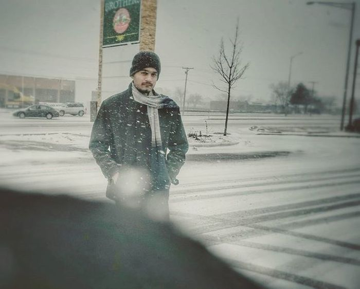 Snow and freezing cold. Chicago Hoffman Schaumburg Illinois Snow Muffler Jacket Cap Frost Road Feburary 2k16 2016 Winters