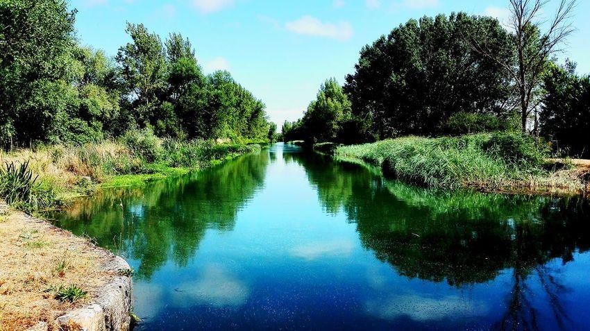 Canal De Castilla River Reflections In The Water Reflections Trees And Sky Blue Sky Reglejos En El Rio Vegetacion