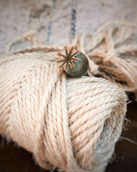 High angle view of rope tied up