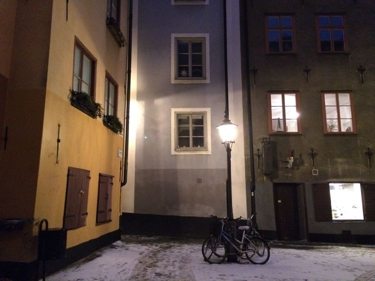 Alley Architecture Bicycle Building Exterior Cityscape Electricity  Illuminated Lampost Night No People Outdoors Residential Building Street