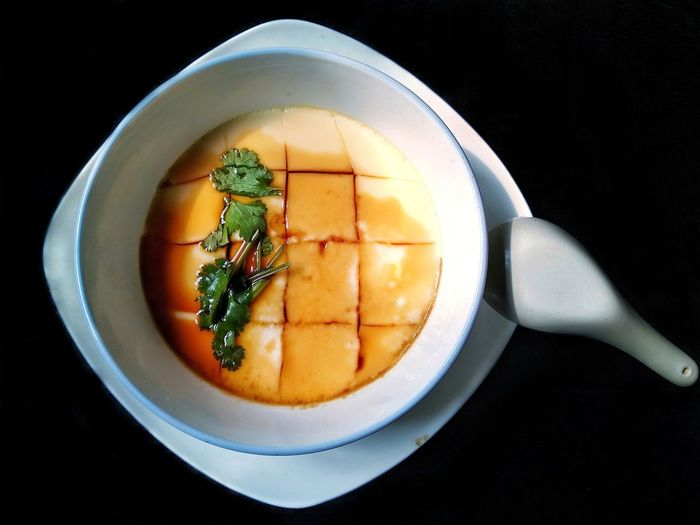 Steamed Egg custard Food Homemade Homemade Food Eggcustard Snack Time! Delicious Parsley Soy Sauce Black Background Directly Above Table High Angle View Close-up Food And Drink