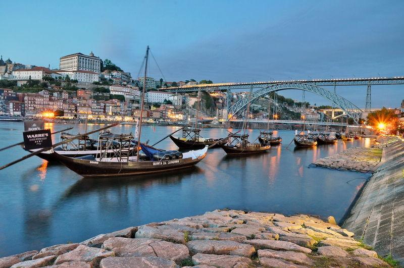 Boat Bridge City Porto Portugal River Urban Vine