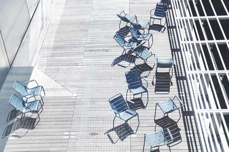 View of chairs on deck