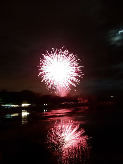 First Eyeem Photo No People Outdoors Water Firework Red Pink Nationalday Loire River Mirror Beauty Sky Moon