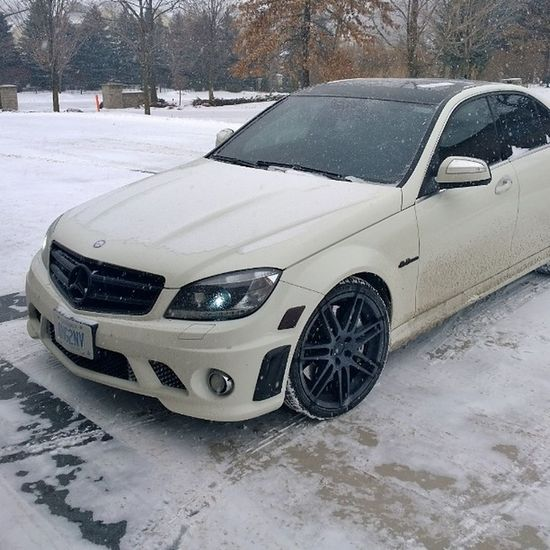 I have come to one conclusion....this bitch ain't made for the snow lol AMG C63 600hp Sleeper Benz fastcars needmorepower powerjunky dahlllllll