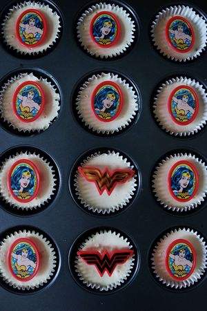 Homemade wonder woman themed cheesecake cupcakes Multi Colored In A Row Variation Arrangement Choice No People Backgrounds Indoors  Black Background Day Close-up Cheesecakecupcakes Cupcakes Wonder Wonman Theme Wonder Woman Birthday Baking Dessert Dark Darkphotography Darkfoodphotography Moodyphotography EyeEmNewHere