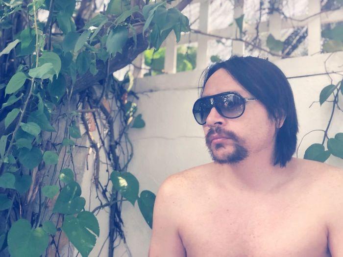 Tree Portrait Shirtless Headshot Beard Summer Branch Men Sunglasses