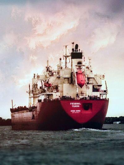 River Barge DetroitRiverWater Photoshop Inmytown Bigship Image Overlaying