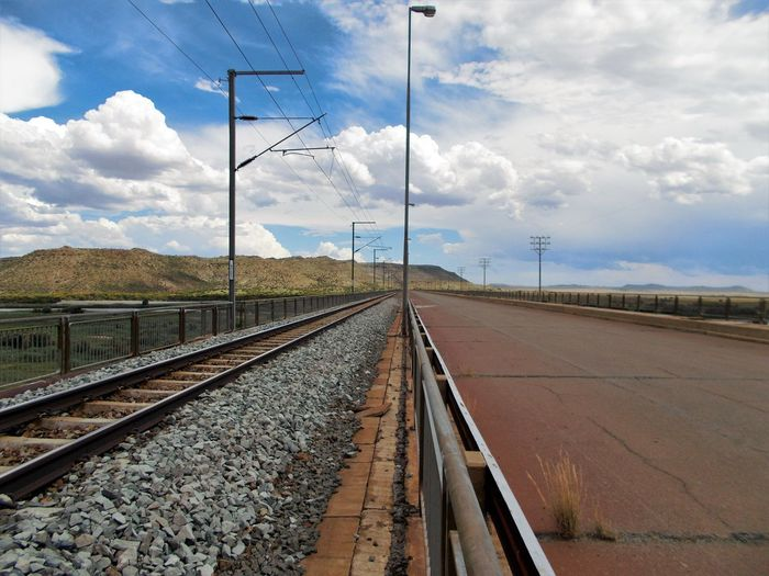 Surface Level Of Railway Tracks Along Empty Road