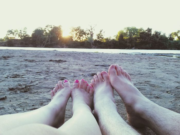 Our feet. Boyfriend and I. Barefoot