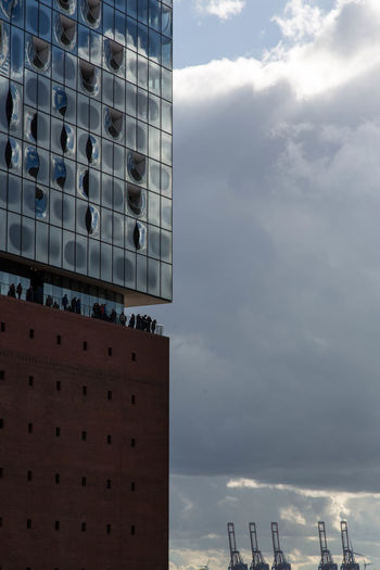 Elbphilharmonie Architecture Built Structure Cloud - Sky Clouds And Sky Elbphilharmonie Plaza Hamburg Harbor View Outdoors The Architect - 2017 EyeEm Awards