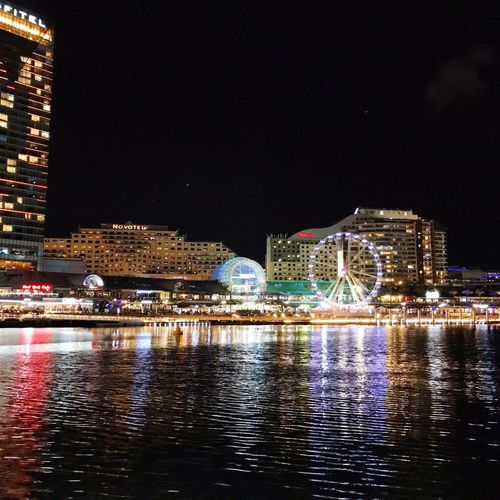 Night Illuminated Water Built Structure Building Exterior Architecture City Waterfront Cityscape City Life